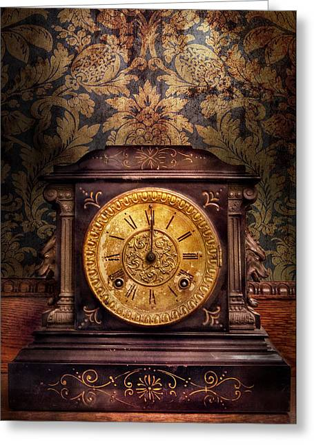 Mechanism Photographs Greeting Cards - Clockmaker - Wolf Clock  Greeting Card by Mike Savad