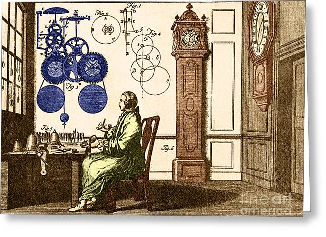 Pendulum Greeting Cards - Clockmaker Greeting Card by Photo Researchers