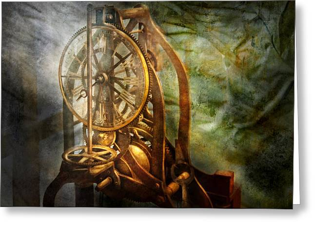 Mechanism Photographs Greeting Cards - Clockmaker - The day time stood still  Greeting Card by Mike Savad