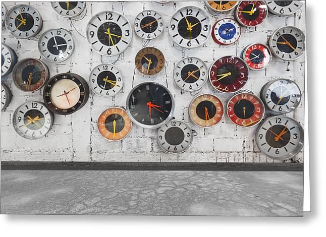 Empty Chairs Greeting Cards - Clocks On The Wall Greeting Card by Setsiri Silapasuwanchai
