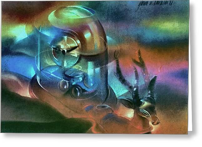 Clock Pastels Greeting Cards - Clockscape 1981 Greeting Card by Glenn Bautista