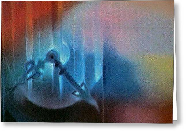 Clock Pastels Greeting Cards - Clockscape2 1981 Greeting Card by Glenn Bautista