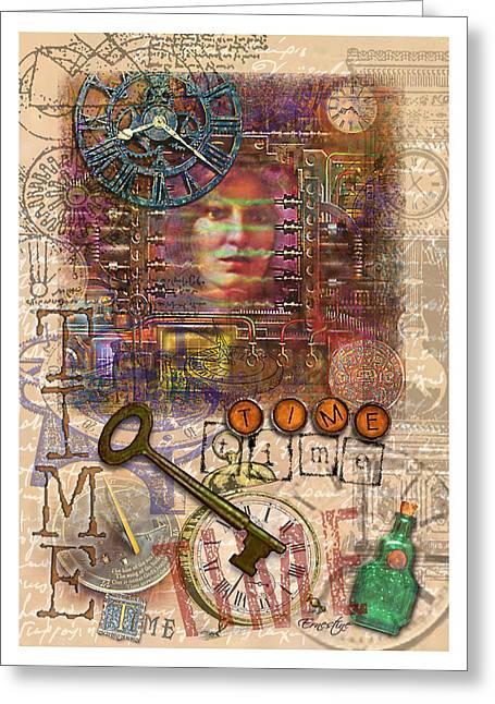 Typewriter Mixed Media Greeting Cards - Clockworks Greeting Card by Ernestine Grindal