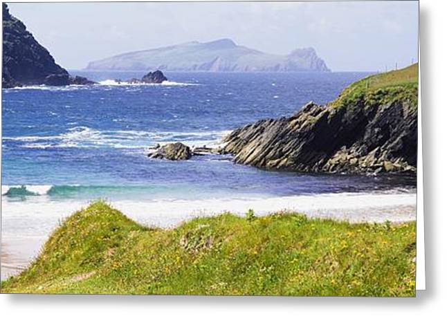 Atlantic Beaches Greeting Cards - Clogher Beach, Blasket Islands, Dingle Greeting Card by The Irish Image Collection