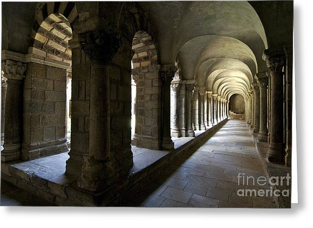 Catholic Art Greeting Cards - Cloister of Puy en Velay. Auvergne. France Greeting Card by Bernard Jaubert