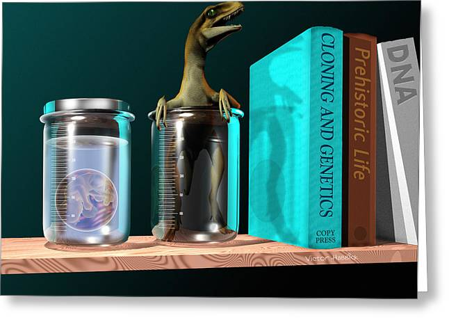 Dinosaurs Greeting Cards - Cloned Dinosaur Greeting Card by Victor Habbick Visions