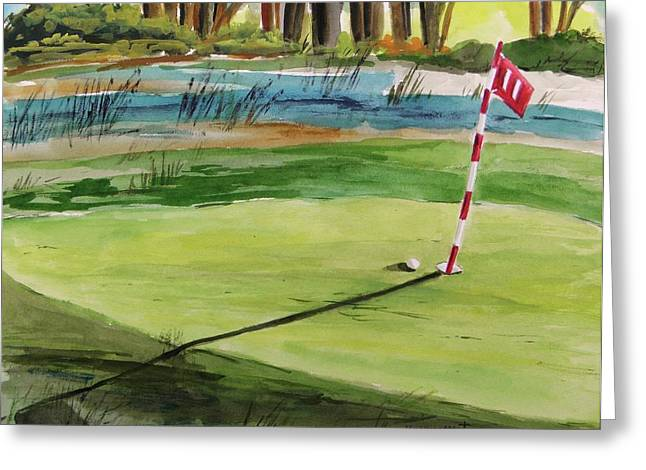 John M. Williams Drawings Greeting Cards - Close at the Eleventh Hole Greeting Card by John  Williams
