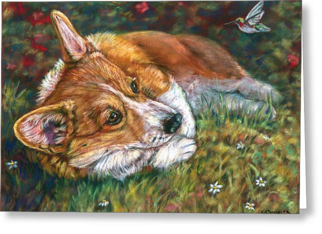 Recently Sold -  - Puppies Paintings Greeting Cards - Close Encounter - Pembroke Welsh Corgi Greeting Card by Lyn Cook