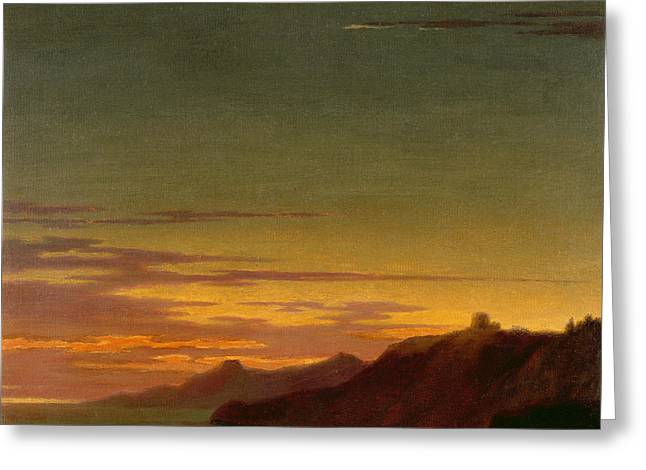 Graphite Paintings Greeting Cards - Close of the Day - Sunset on the Coast Greeting Card by Alexander Cozens