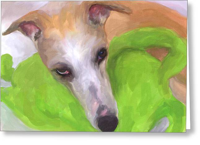 Greyhound Dog Paintings Greeting Cards - Close to My Heart Greeting Card by Jai Johnson