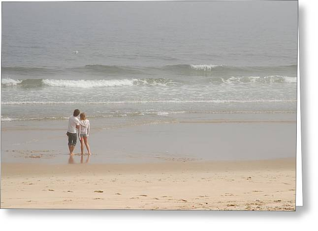 Foggy Beach Greeting Cards - Close To You - Jersey Shore Greeting Card by Angie Tirado