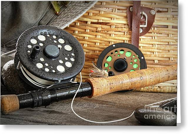 Spool Greeting Cards - Close-up fly fishing rod  Greeting Card by Sandra Cunningham