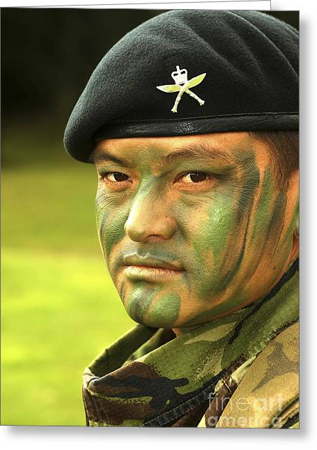 Brigade Greeting Cards - Close-up Of A Gurkha With Camouflage Greeting Card by Andrew Chittock