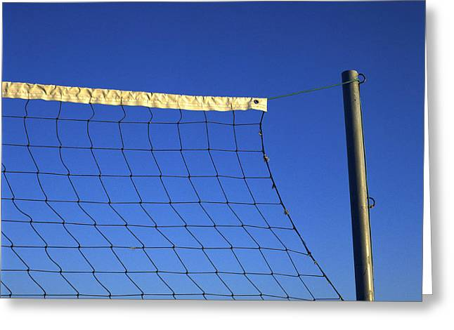 Net Greeting Cards - Close-up of a volleyball net abandoned. Greeting Card by Bernard Jaubert