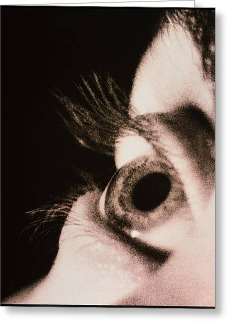 Eyes Wide Open Greeting Cards - Close-up Of A Womans Eye Looking Upwards Greeting Card by Cristina Pedrazzini