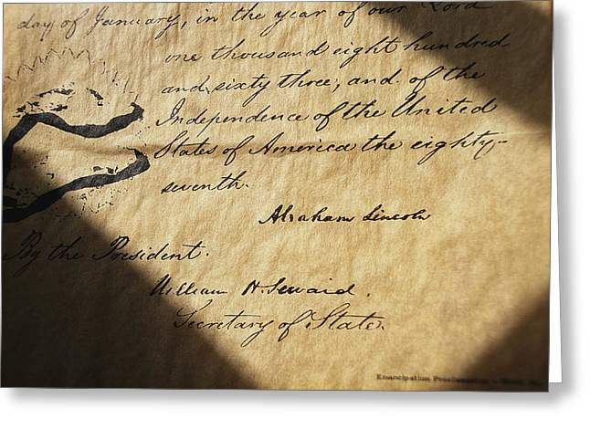 Proclamation Greeting Cards - Close-up Of Emancipation Proclamation Greeting Card by Todd Gipstein