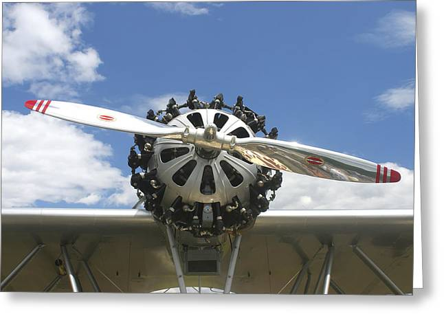 Seaplane Greeting Cards - Close-up Of Engine On Antique Seaplane Canvas Poster Print Greeting Card by Keith Webber Jr