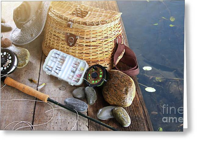 Angling Photographs Greeting Cards - Close-up of fishing equipment and hat  Greeting Card by Sandra Cunningham