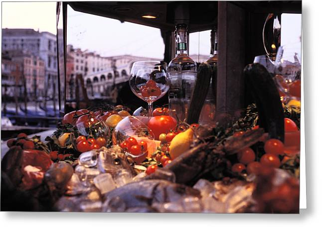 Italian Market Greeting Cards - Close-up Of Fruits And Wine A Glass Greeting Card by Gianluca Colla