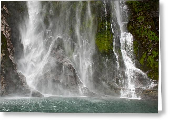 Close Up Of One Of The Many Waterfalls Greeting Card by Brooke Whatnall