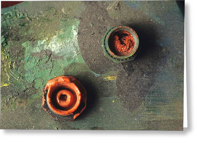 Red Photos Greeting Cards - Close up of palette. Greeting Card by Bernard Jaubert