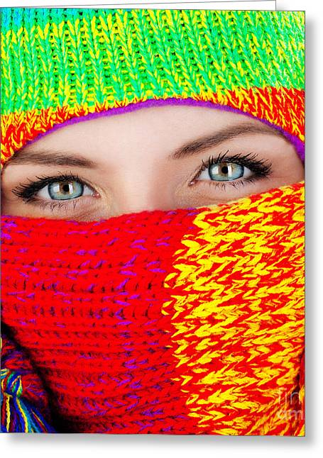 Close Up On Covered Face With Blue Eyes Greeting Card by Anna Om