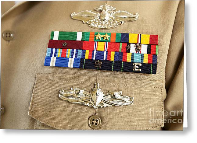 Navy Dress Greeting Cards - Close-up View Of Military Decorations Greeting Card by Stocktrek Images