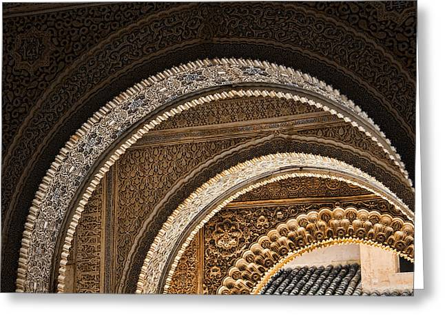 Dynasty Greeting Cards - Close-up view of Moorish arches in the Alhambra palace in Granad Greeting Card by David Smith