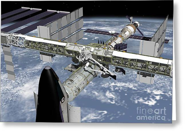 Best Sellers -  - Component Digital Art Greeting Cards - Close Up View Of The Shuttle Docked Greeting Card by Stocktrek Images