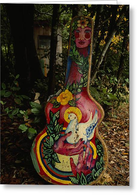 Close View Of A Decorated Guitar Case Greeting Card by Phil Schermeister