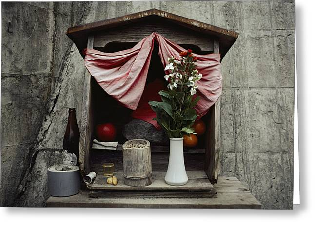 Devotional Photographs Greeting Cards - Close View Of A Shrine With Oferings Greeting Card by Sam Abell