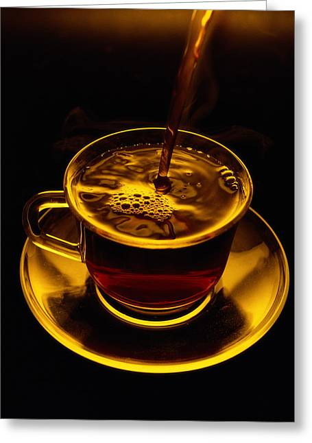 Coffee Drinking Photographs Greeting Cards - Close View Of Coffee Being Poured Greeting Card by Sam Abell