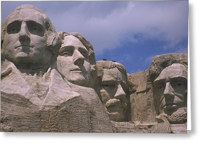 American Presidents And Prime Ministers Greeting Cards - Close View Of Mount Rushmore Carved Greeting Card by Nadia M.B. Hughes