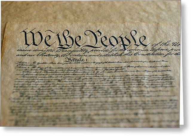 Close View Of The Us Constitution Greeting Card by Kenneth Garrett