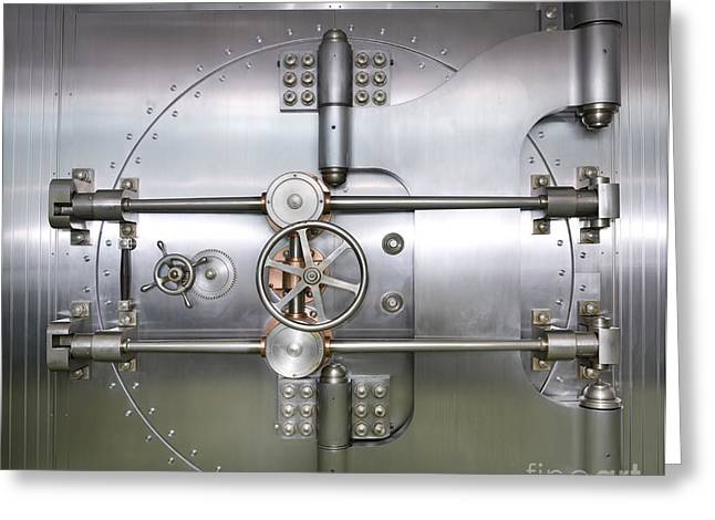 Closed Door to a Bank Vault Greeting Card by Adam Crowley