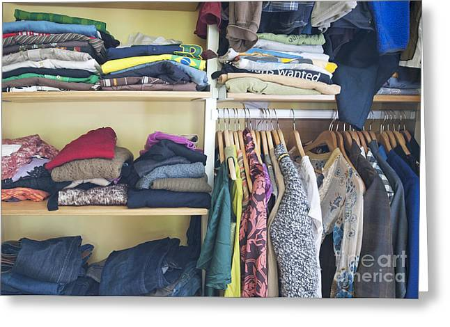 No Clothing Greeting Cards - Closet Full of Clothing Greeting Card by Marlene Ford