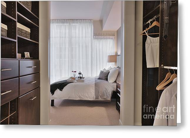 Dressing Room Greeting Cards - Closet in Upscale Bedroom Greeting Card by Andersen Ross