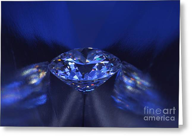 Lit Jewelry Greeting Cards - Closeup blue diamond in blue light. Greeting Card by Atiketta Sangasaeng