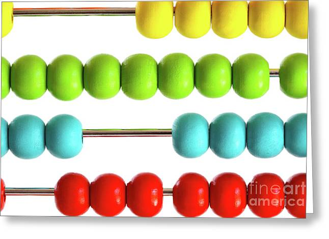 Child Toy Greeting Cards - Closeup of bright  abacus beads on white Greeting Card by Sandra Cunningham