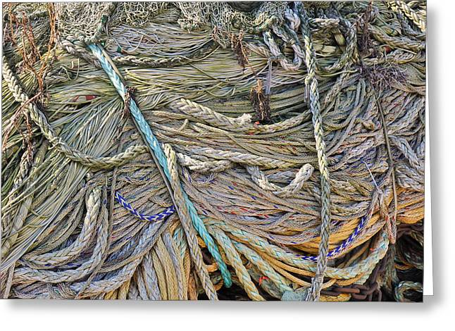 Straps Greeting Cards - Closeup of fishing nets and ropes Greeting Card by Ruud Morijn