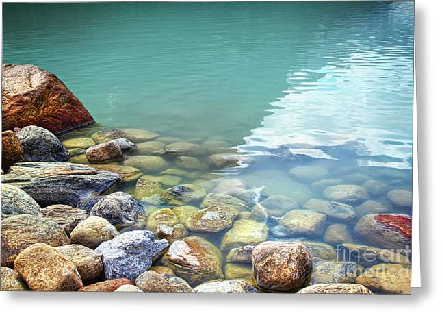Crystal Clear Greeting Cards - Closeup of rocks in water at lake Louise Greeting Card by Sandra Cunningham