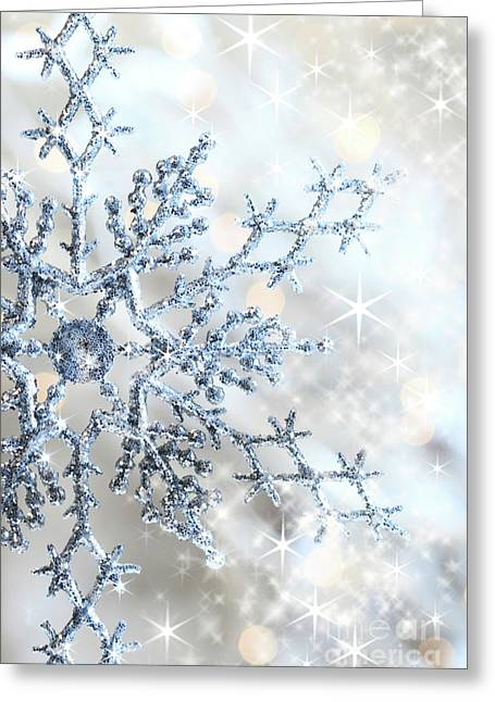 Iceflower Greeting Cards - Closeup of snowflake Greeting Card by Sandra Cunningham
