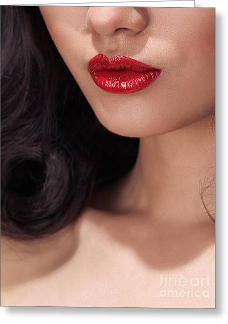 Chin Up Photographs Greeting Cards - Closeup of woman red lips Greeting Card by Oleksiy Maksymenko