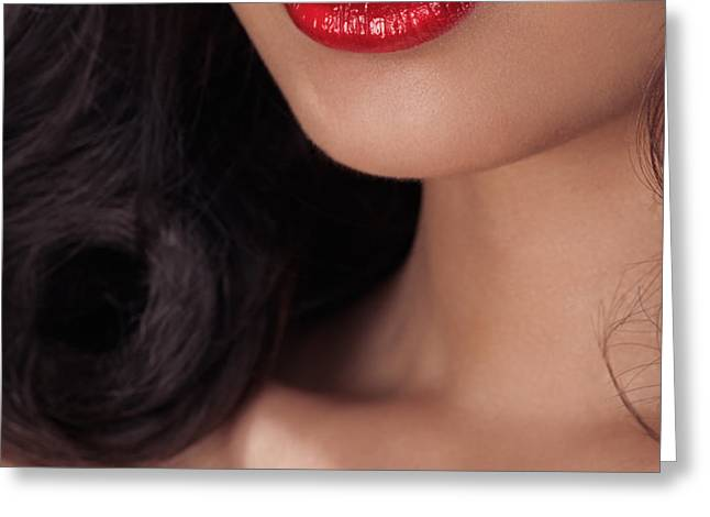 Closeup of woman red lips Greeting Card by Oleksiy Maksymenko