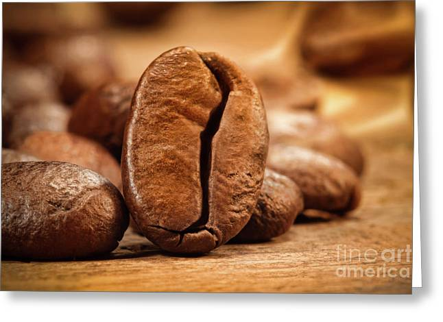 Closeup Shot Of A Coffee Bean On Wood Greeting Card by Sandra Cunningham