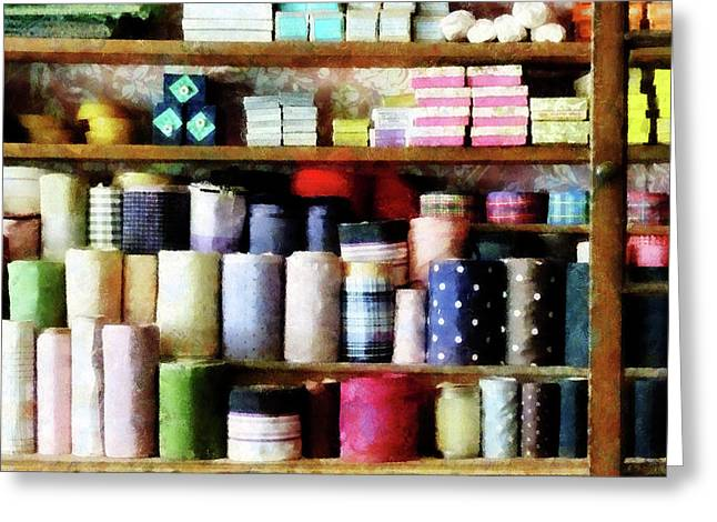 Sewing Greeting Cards - Cloth in General Store Greeting Card by Susan Savad