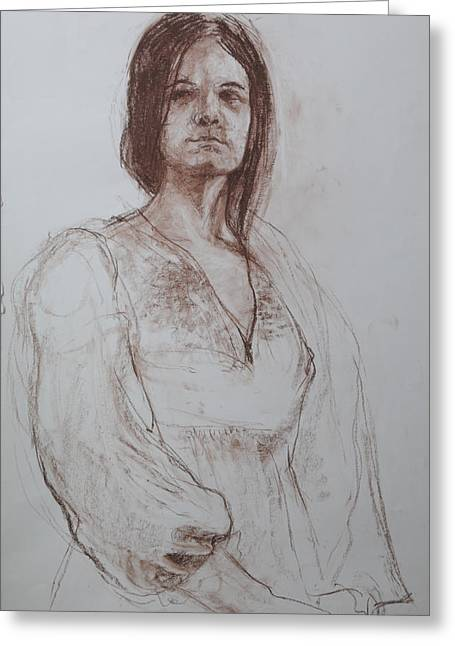 Clothed Figure Drawings Greeting Cards - Clothed Model Greeting Card by Harry Robertson