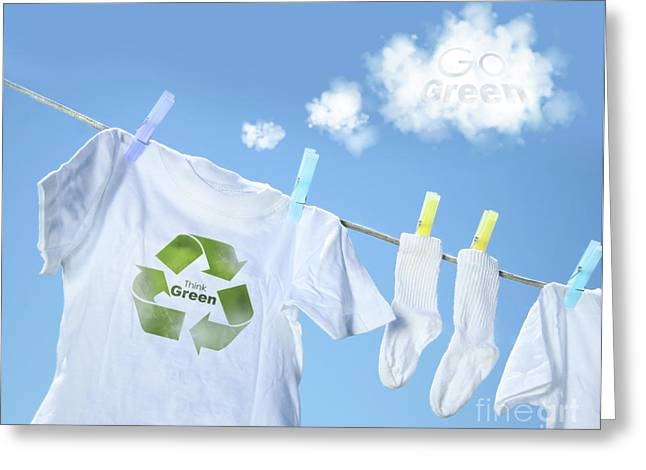 White Cloth Greeting Cards - Clothes drying on clothesline with go green sign  Greeting Card by Sandra Cunningham