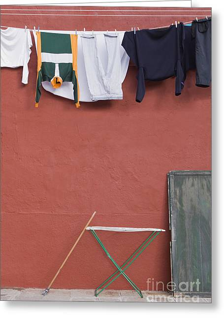 Ironing Board Greeting Cards - Clothes on Urban Clothesline Greeting Card by Andersen Ross