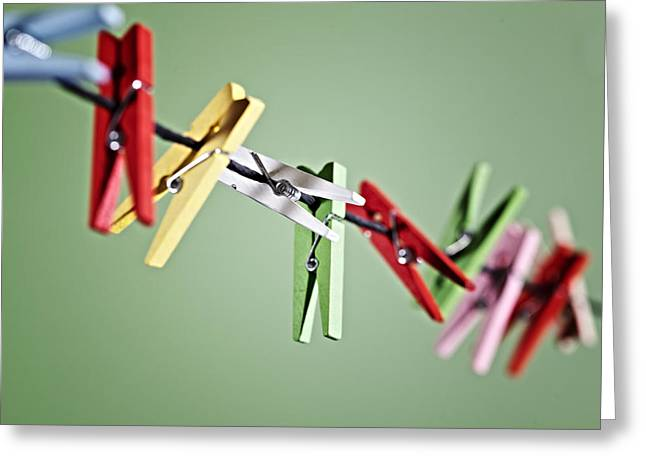 Rope Greeting Cards - Clothes Pegs Greeting Card by Joana Kruse
